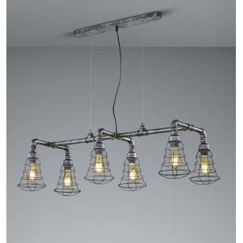 Trio-Leuchten Gotham Pendant Light silver, dark brown, 6-light sources