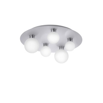 Trio Leuchten DICAPO Ceiling Light LED matt nickel, 5-light sources, Remote control, Colour changer