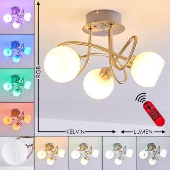 Motala Ceiling Light LED matt nickel, 3-light sources, Remote control, Colour changer
