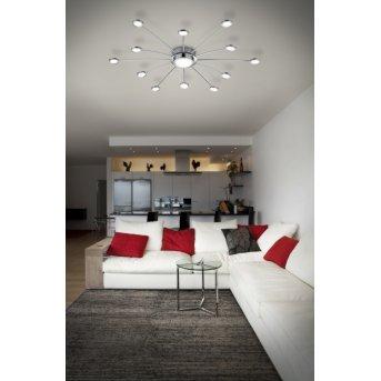 Trio-Leuchten Bodrum Ceiling Light LED chrome, 12-light sources, Remote control
