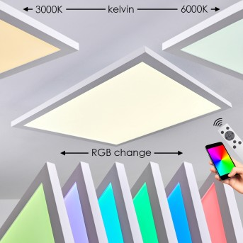 Bankura Ceiling Light LED white, 1-light source, Remote control, Colour changer