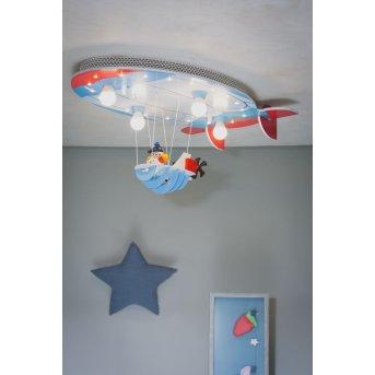 Elobra LUFTSCHIFF Ceiling Light blue, red, 4-light sources