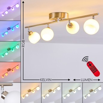 Motala Ceiling Light LED matt nickel, 4-light sources, Remote control, Colour changer