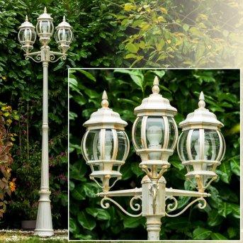 Kobe lamppost white, gold, 3-light sources