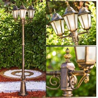 HONGKONG FROST Lamp Post brown, gold, 3-light sources