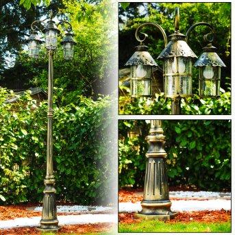 Tolep lamppost black-gold, 3-light sources