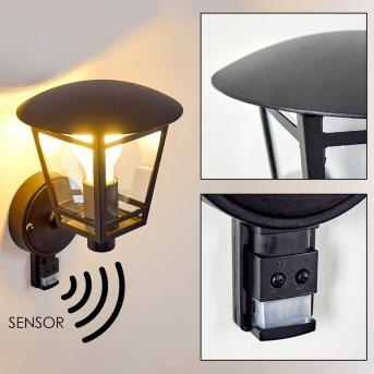 SIERA outdoor wall light black, 1-light source, Motion sensor