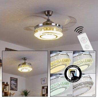 BENDIGO ceiling fan LED matt nickel, transparent, clear, 1-light source