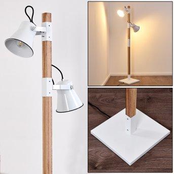 OKSBOL Floor Lamp white, Light wood, 2-light sources