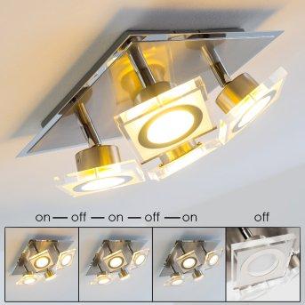 Kolari Ceiling Light LED matt nickel, chrome, 4-light sources