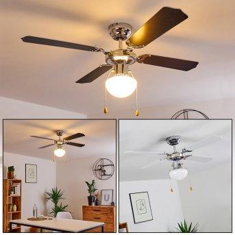 VALLETTA ceiling fan chrome, black, white, 1-light source
