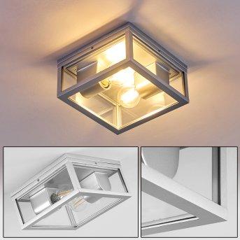 Kiwalik outdoor ceiling light silver, 2-light sources