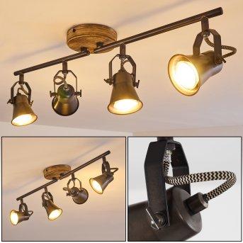 SKODSBOL Ceiling Light grey, light brown, brushed steel, 4-light sources
