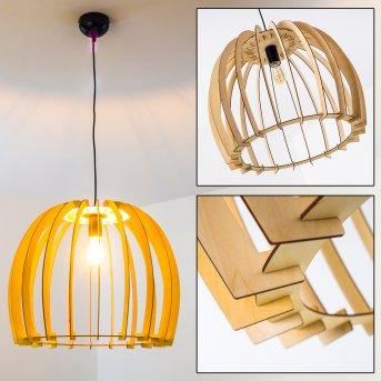 Wutt Pendant Light black, Light wood, 1-light source