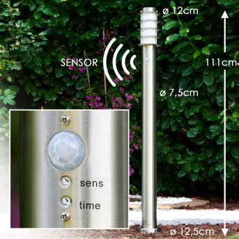 Tunes path light stainless steel, 1-light source, Motion sensor
