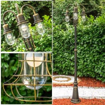 BORKAN Lamp Post brown, gold, 3-light sources