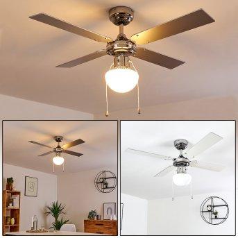 VALLETTA ceiling fan chrome, silver, white, 1-light source