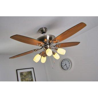 Globo JERRY fan matt nickel, chrome, stainless steel, 5-light sources