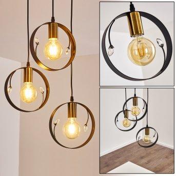 Pendant Light Leentje black, gold, 3-light sources