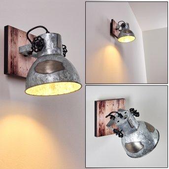 Hora Wall Light silver, Light wood, 1-light source