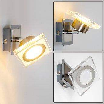 Kolari wall spotlight LED matt nickel, chrome, 1-light source
