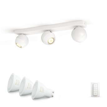 Philips HUE AMBIANCE WHITE BUCKRAM Spotlight base set white, 3-light sources, Remote control