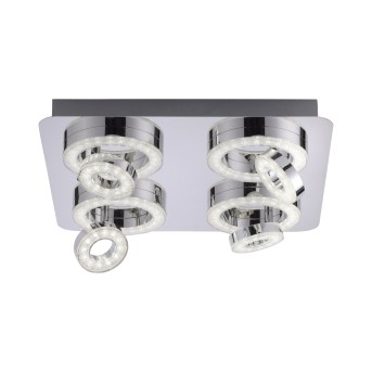 Leuchten Direkt LS-TIM Ceiling Light LED chrome, 4-light sources, Remote control, Colour changer