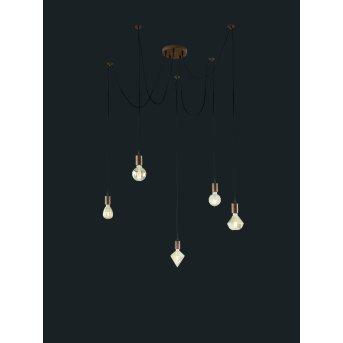Trio-Leuchten Cord Pendant Light copper, 5-light sources