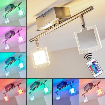 Oxford ceiling light LED chrome, 2-light sources, Remote control, Colour changer