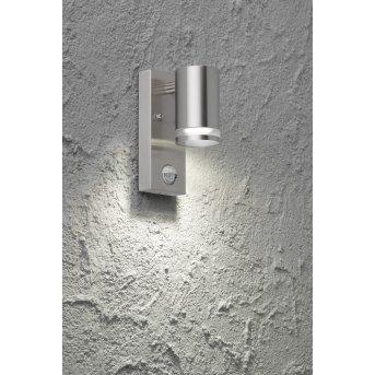 Wofi GENTARA outdoor wall light stainless steel, 1-light source, Motion sensor