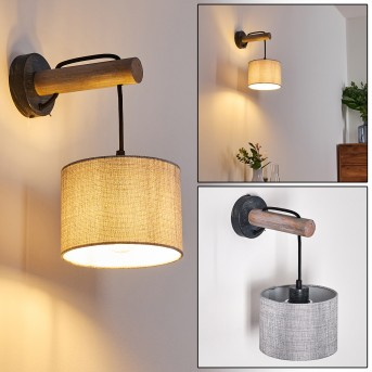Adelboden Wall Light black, dark wood, 1-light source