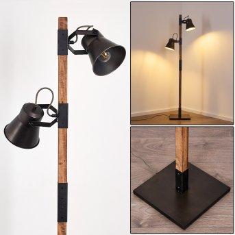 OKSBOL Floor Lamp grey, dark brown, brushed steel, 2-light sources