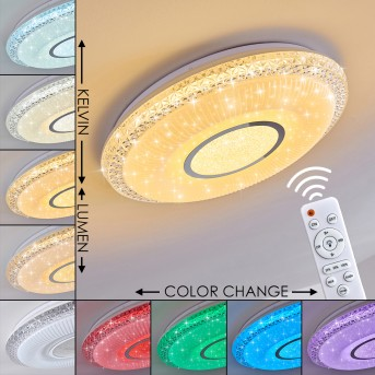 Avoriaz Ceiling Light LED white, 2-light sources, Remote control, Colour changer