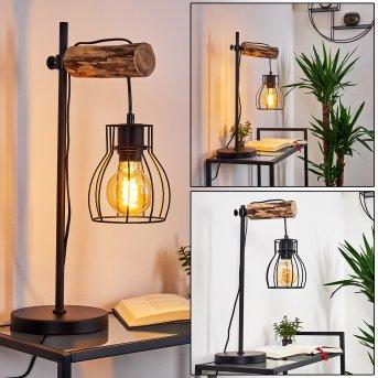 GONDO Table lamp black, Light wood, 1-light source
