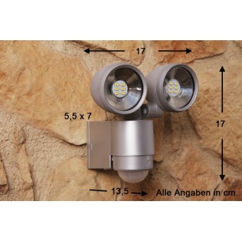 Globo RADIATOR II spotlight silver, 2-light sources, Motion sensor