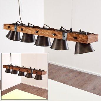 OKSBOL Pendant Light black, Dark wood, 5-light sources
