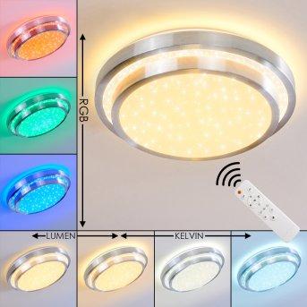 MIRABEAU Ceiling light LED aluminium, 2-light sources, Remote control, Colour changer