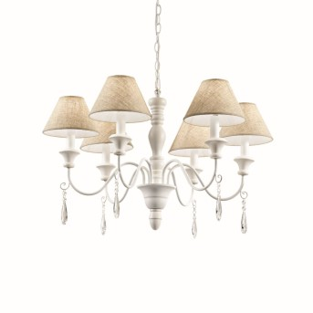 Ideal Lux PROVENCE Chandelier white, 6-light sources