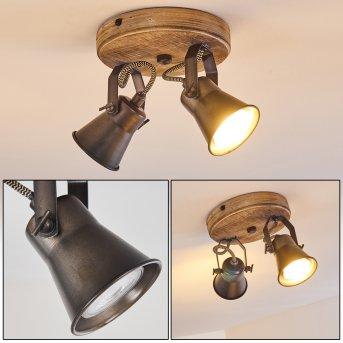 SKODSBOL Ceiling Light anthracite, Light wood, 2-light sources