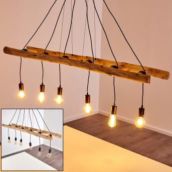 YAAK Pendant Light black, Light wood, 6-light sources