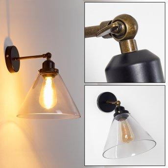 ABEL Wall Light brass, black, 1-light source