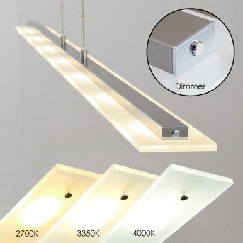 Lourdes pendant light LED matt nickel, chrome, 7-light sources