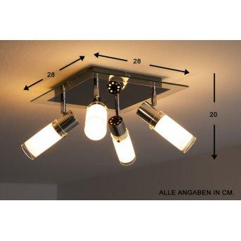 Wofi MARCO ceiling light chrome, white, 4-light sources