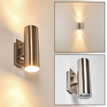 Malaga outdoor wall light stainless steel, 2-light sources