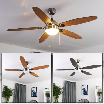 VALERIA ceiling fan matt nickel, chrome, light wood, 1-light source