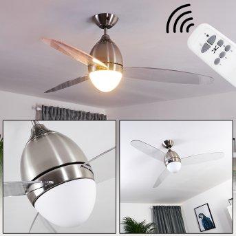 VARAZZE ceiling fan matt nickel, transparent, clear, 1-light source, Remote control