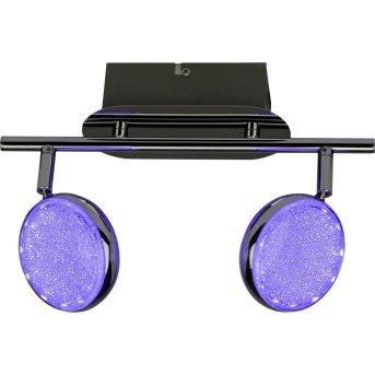 Brilliant CASSY ceiling spotlight LED chrome, 2-light sources, Remote control, Colour changer