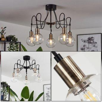 QUENTO Ceiling Light brass, black, 5-light sources