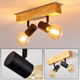 BARBENGO Ceiling Light black, Light wood, 2-light sources