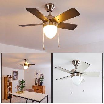 ELLMAU ceiling fan chrome, grey, white, 1-light source
